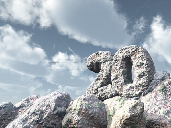 Numara yirmi kaya bulutlu mavi gökyüzü 3d illustration Stok fotoğraf © drizzd