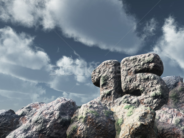 Aantal vijftien rock bewolkt blauwe hemel 3d illustration Stockfoto © drizzd