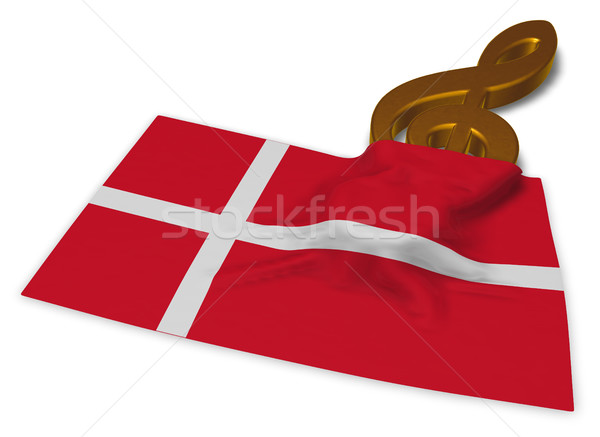 clef symbol and danish flag - 3d rendering Stock photo © drizzd