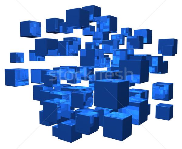 Wanorde Blauw witte 3d illustration bouw Stockfoto © drizzd