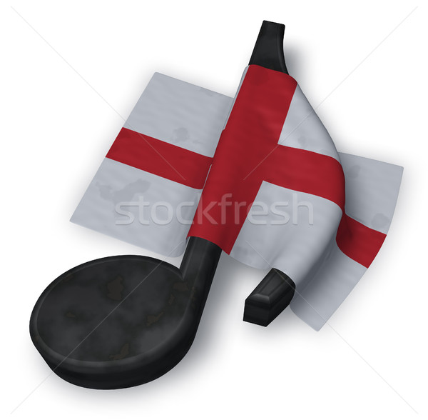 Zene jegyzet szimbólum angol zászló 3D renderelt kép Stock fotó © drizzd