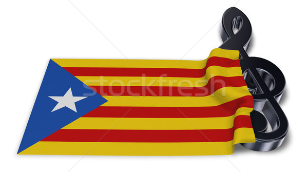 clef symbol symbol and flag of catalonia - 3d rendering Stock photo © drizzd