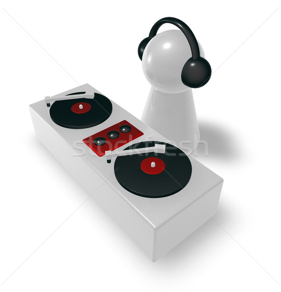 Disc jockey draaitafels 3d illustration club zwarte draaitafel Stockfoto © drizzd