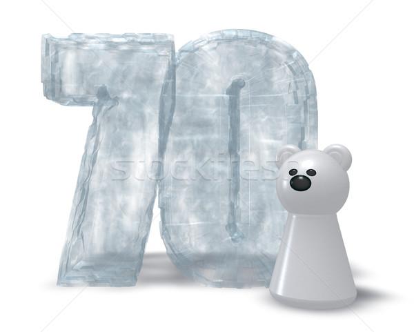 Bevroren ijsbeer aantal 3d illustration verjaardag koud Stockfoto © drizzd