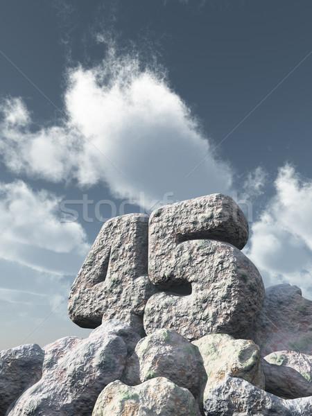 Numara kırk beş kaya bulutlu mavi gökyüzü Stok fotoğraf © drizzd