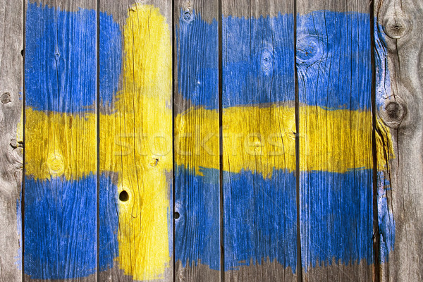 swedish colors on old wooden wound Stock photo © drizzd
