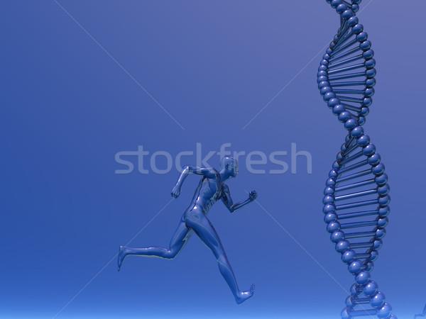 Foto stock: Atletismo · dna · corrida · homem · ilustração · 3d · médico