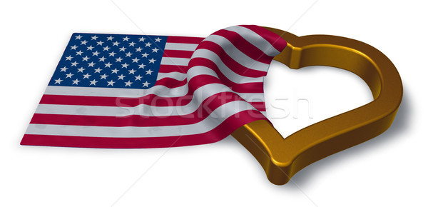 flag of the usa and heart symbol - 3d rendering Stock photo © drizzd