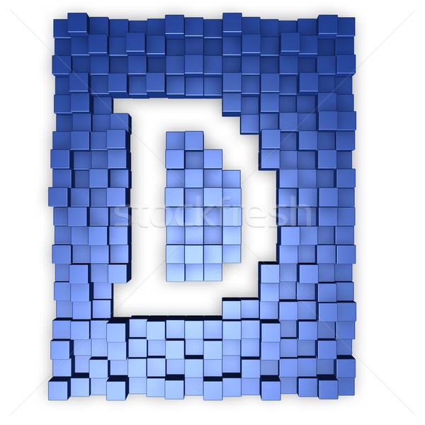 Piros kockák d betű kék 3d illusztráció épület Stock fotó © drizzd