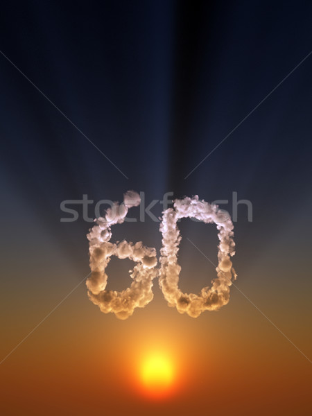 Zestig wolken vorm aantal 3d illustration zon Stockfoto © drizzd