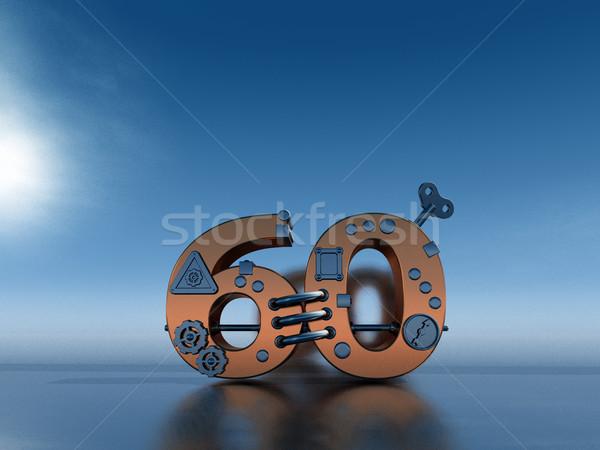 Aantal zestig steampunk 3d illustration financieren versnelling Stockfoto © drizzd