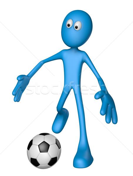 Futebol azul cara futebol ilustração 3d esportes Foto stock © drizzd