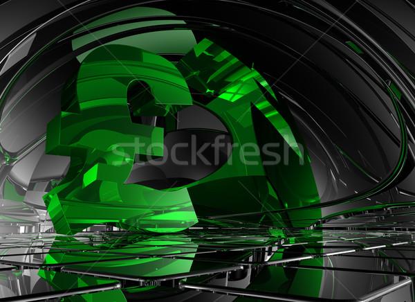 Pound simge soyut uzay 3d illustration Metal Stok fotoğraf © drizzd