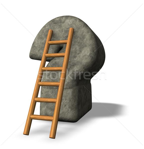 Escada ponto de interrogação pedra ilustração 3d assinar ajudar Foto stock © drizzd