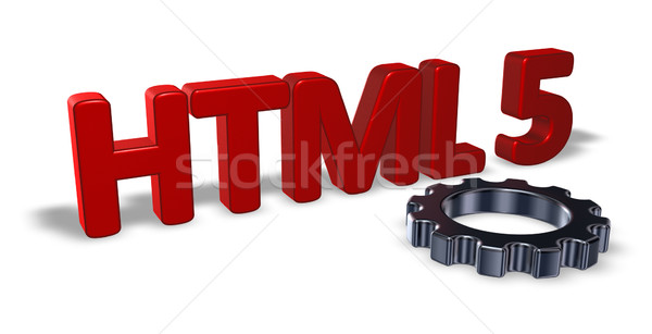 Html versnelling wiel tag 3d illustration technologie Stockfoto © drizzd