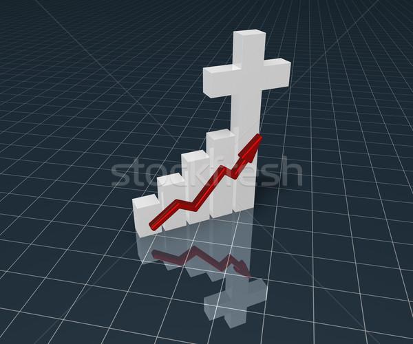 Wykres biznesowych Christian krzyż 3D symbol Zdjęcia stock © drizzd