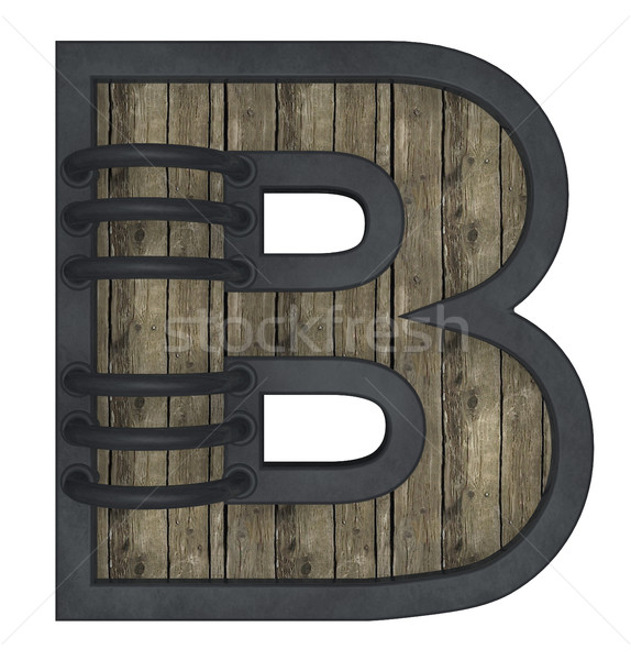 wooden uppercase letter b with metal frame on white background - 3d illustration Stock photo © drizzd