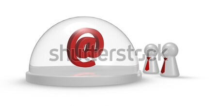 male symbol under glass dome and pawns with tie - 3d rendering Stock photo © drizzd