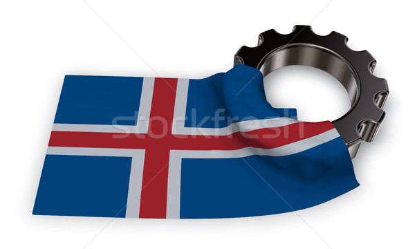gear wheel and flag of iceland - 3d rendering Stock photo © drizzd