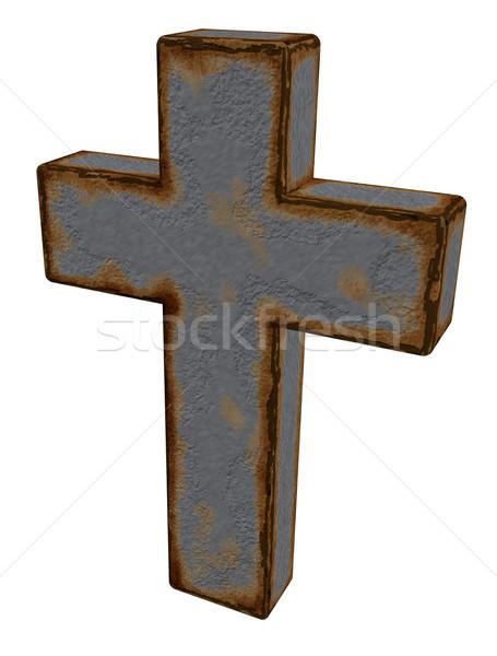 Christian krzyż zardzewiałe biały 3d ilustracji Jezusa Zdjęcia stock © drizzd