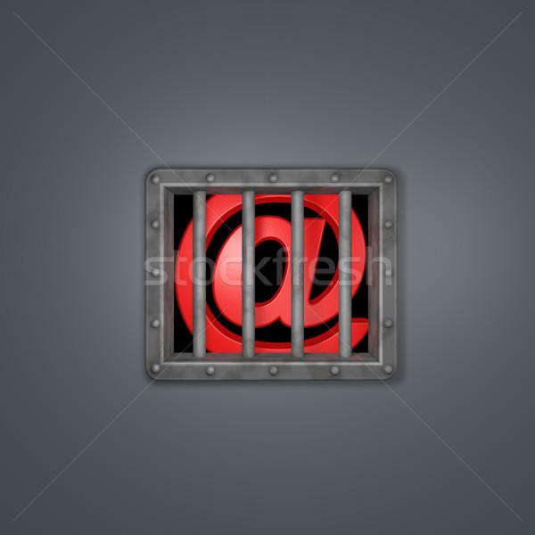 E-mail simge hapis arkasında hapis pencere Stok fotoğraf © drizzd