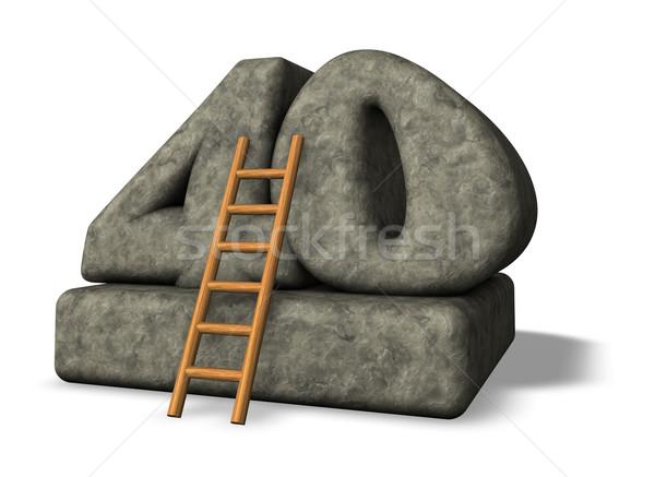 Numer czterdzieści drabiny kamień 3d ilustracji wznoszenia Zdjęcia stock © drizzd