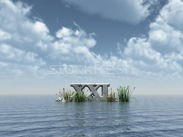 Stockfoto: Xxl · zee · oceaan · steen · horizon · brieven