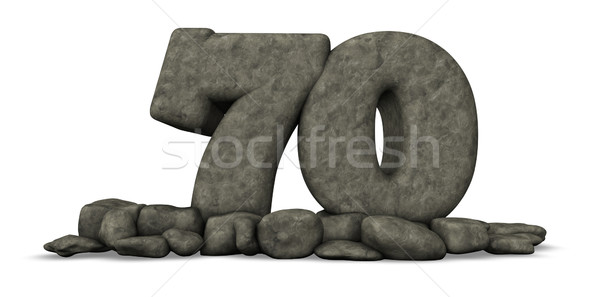 stone number seventy on white background - 3d rendering Stock photo © drizzd