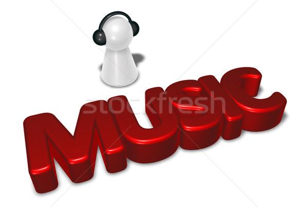 Música etiqueta peón auriculares 3D Foto stock © drizzd