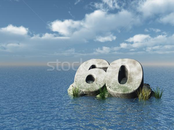 Zestig aantal oceaan 3d illustration natuur zee Stockfoto © drizzd