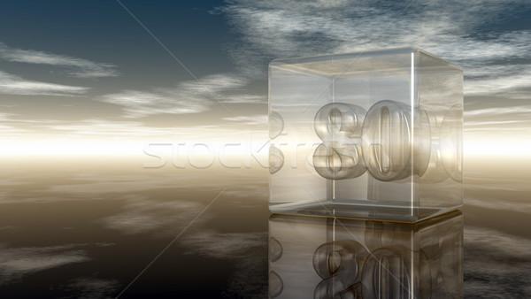 Número oitenta vidro cubo nublado céu Foto stock © drizzd