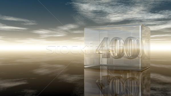 Nombre quatre cent verre cube nuageux Photo stock © drizzd