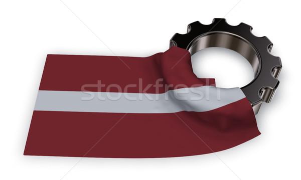 Versnelling wiel vlag 3D bouw Stockfoto © drizzd