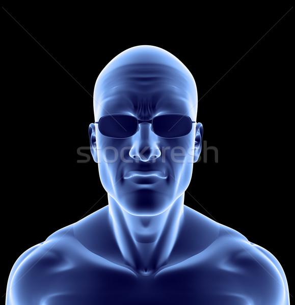 Streszczenie portret człowiek okulary czarny 3d ilustracji Zdjęcia stock © drizzd