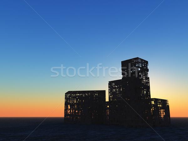 Romok elpusztított épületek naplemente 3d illusztráció ház Stock fotó © drizzd