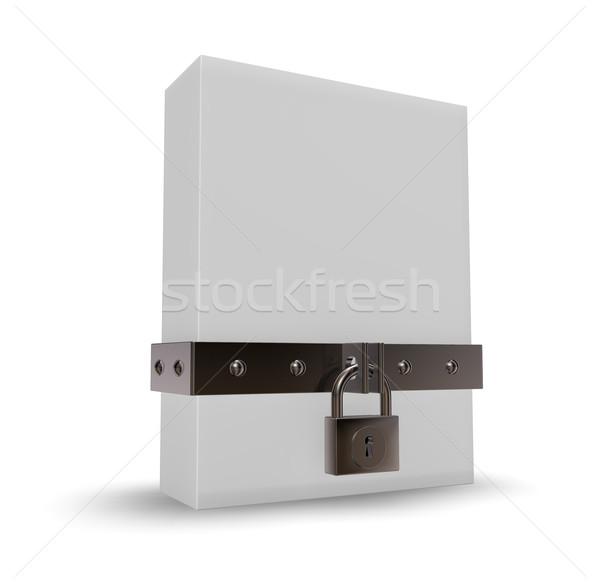 Polu kłódki żelaza 3d ilustracji budowy bezpieczeństwa Zdjęcia stock © drizzd