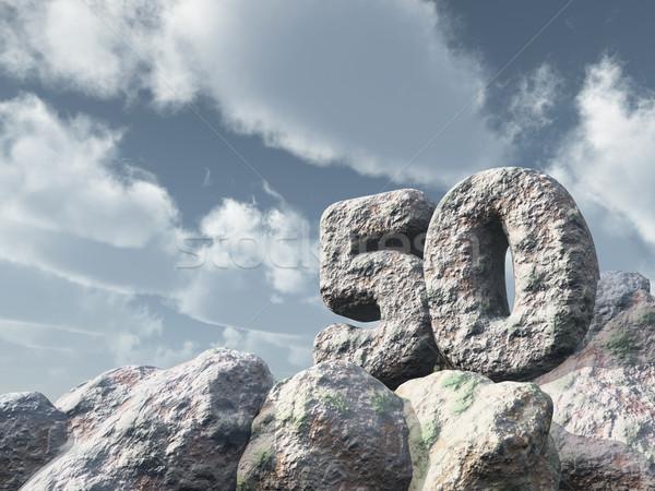 Szám ötven kő felhős kék ég 3d illusztráció Stock fotó © drizzd