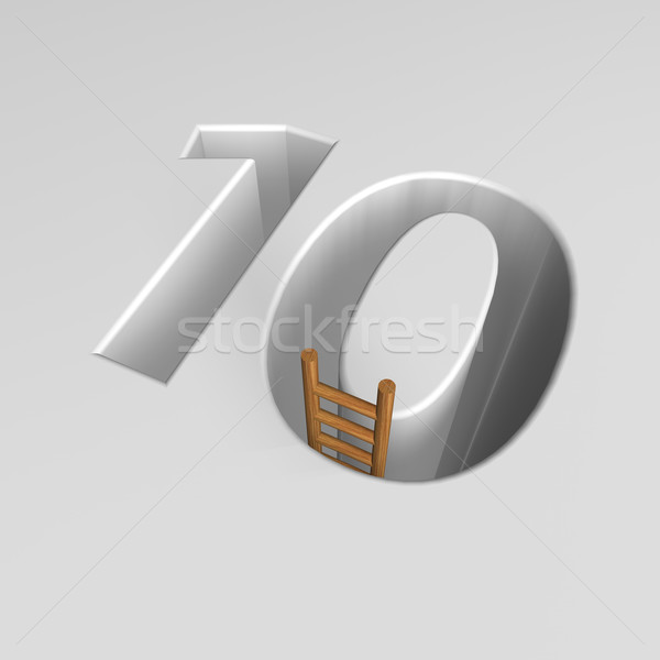 Szám tíz létra forma lyuk 3d illusztráció Stock fotó © drizzd