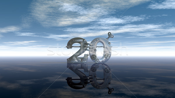 steampunk number twenty under blue sky - 3d illustration Stock photo © drizzd