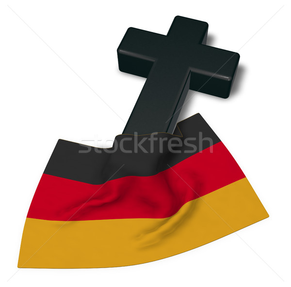 christian cross and flag of germany - 3d rendering Stock photo © drizzd