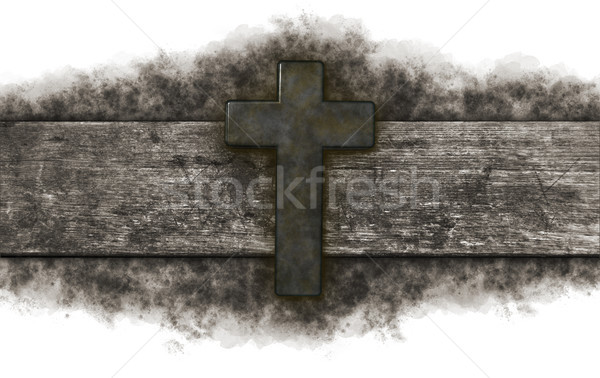christian cross on old wooden plank Stock photo © drizzd