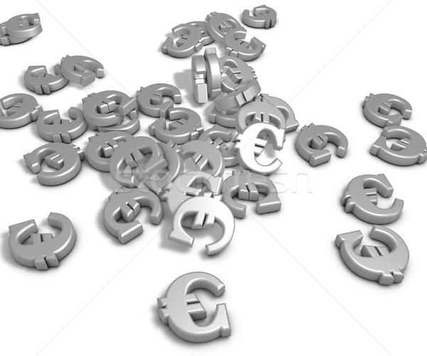 Euro symbolen wanorde witte 3D Stockfoto © drizzd