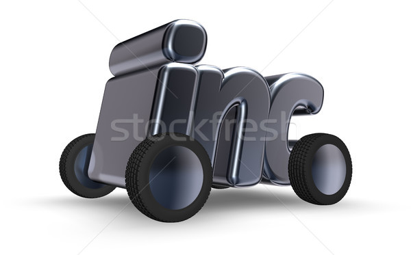 inc symbol on wheels - 3d rendering Stock photo © drizzd
