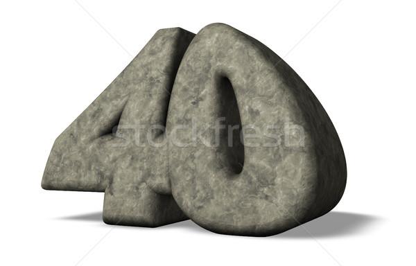 Nombre quarante pierre blanche 3d illustration anniversaire Photo stock © drizzd