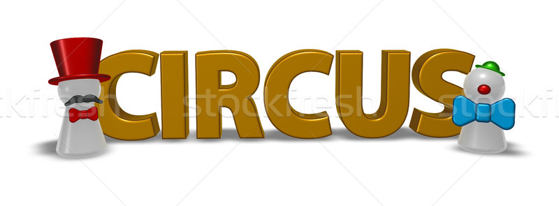 circus tag and showmen pawns - 3d rendering Stock photo © drizzd