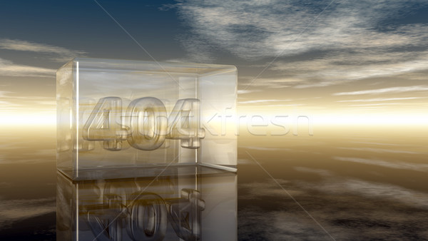 Foto stock: Número · 404 · vidro · nublado · céu · ilustração · 3d