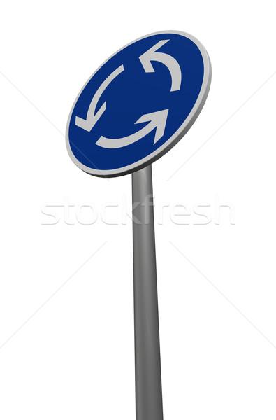 Verkeer cirkel rotonde witte 3d illustration Stockfoto © drizzd