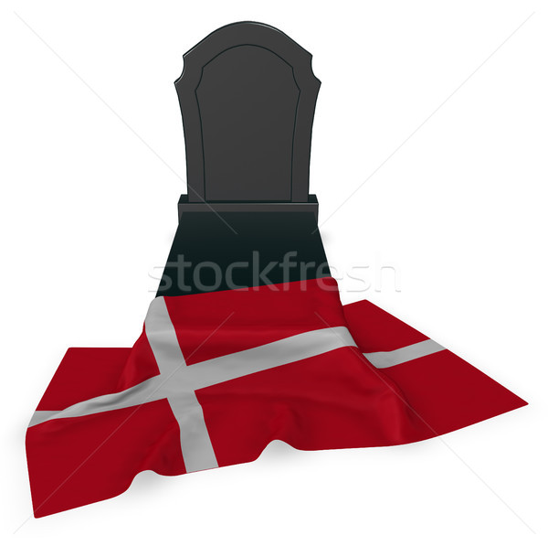gravestone and flag of denmark - 3d rendering Stock photo © drizzd