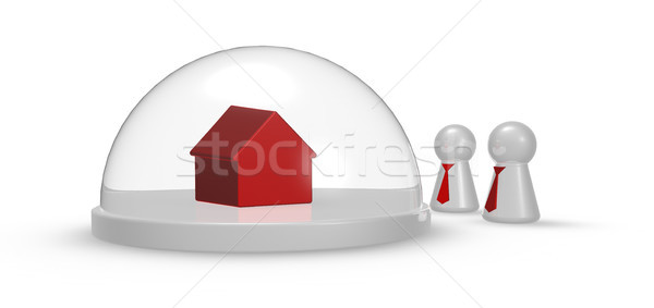 play figures with tie and house model under glass dome - 3d illustration Stock photo © drizzd