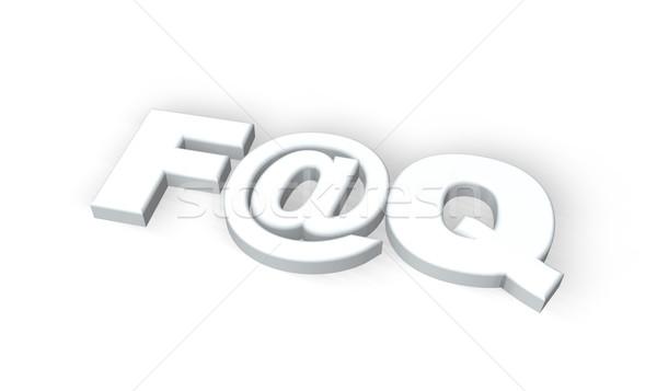 Faq souvent questions symbole blanche 3d illustration Photo stock © drizzd